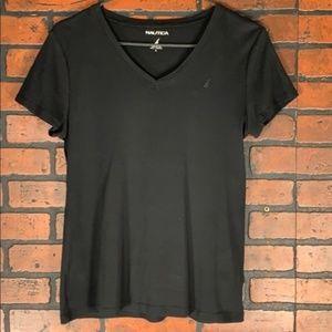 Nautica Women's V-Neck T-Shirt Black Size L